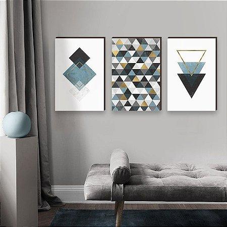 Trio de quadros Geométricos Azul e Dourado [Box de Madeira]