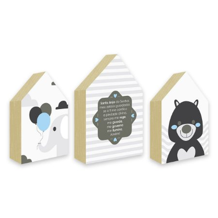 Trio Casinhas Oração Santo Anjo + Urso + Elefante Azul