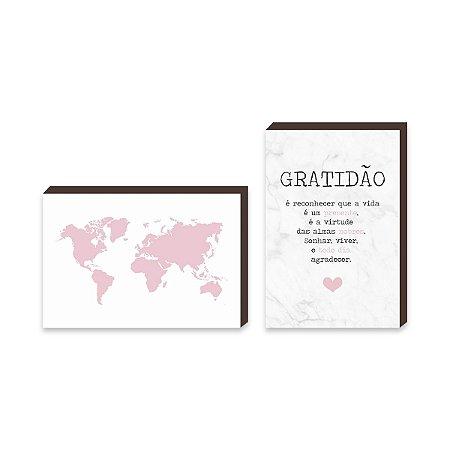Dupla de quadros Mapa + Gratidão Coração Rosa [boxdemadeira]