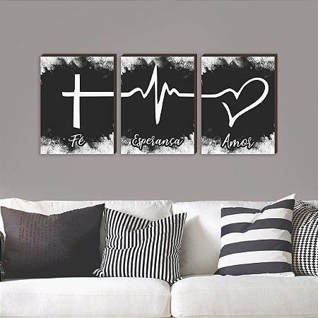 Quadros Trio Fé + Esperança + Amor Símbolos [BOX DE MADEIRA]