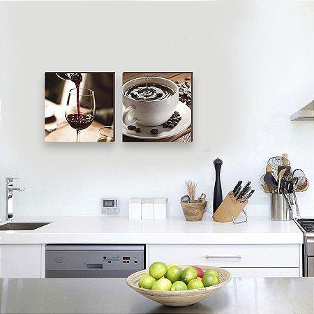 Dupla de quadros Vinho e Café [Box de madeira]
