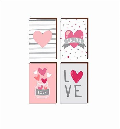 Quarteto de Quadros infantil Potinho de amor + Nome + Love [BoxMadeira]