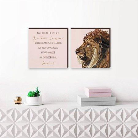 Dupla de quadros Leão de Judá Fundo Rosa [Box de madeira]