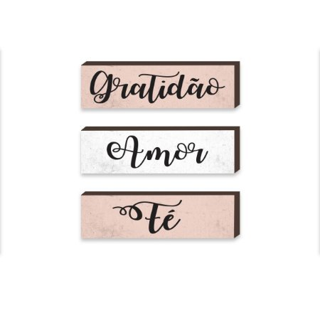 Trio caixinhas Gratidão, Amor, Fé [BoxDeMadeira]