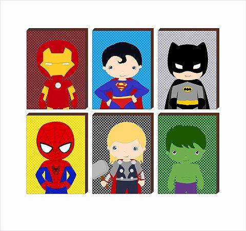 """Sexteto de Quadros Super Heróis Fundo Poá- Homem de Ferro, Superman, Batman, Homem Aranha, Thor, Hulk [BoxMadeira]"""""""