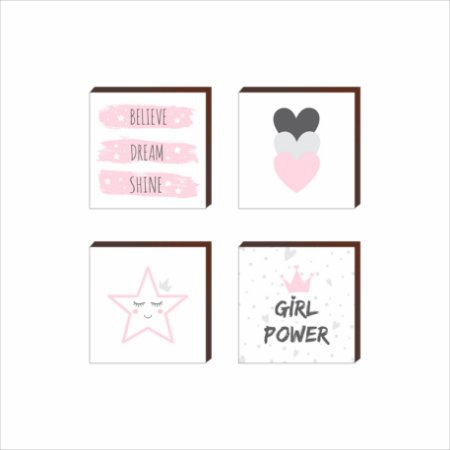 Quarteto de Quadros Decorativos Girl Power [BOX DE MADEIRA]