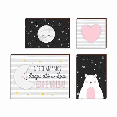 Kit de Quadros Decorativos infantil Lua e Ursa [Box de Madeira]
