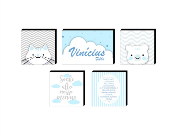 Kit de Quadros infantil Nome + Sonhe Alto + Bichos + Oração [Box de Mdeira]