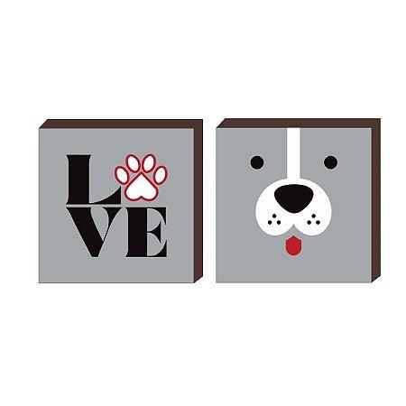 Dupla de quadros Love + Cão CINZA [Box de madeira]