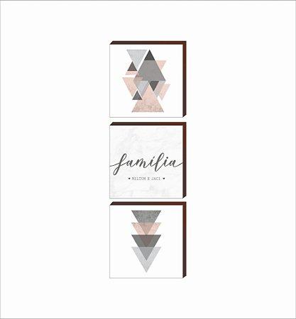 Trio de Quadros Família + Geométricos QUADRADO [BoxMadeira]