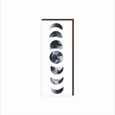 Quadro Decorativo Fases da Lua VERTICAL BRANCO 40X100 [Box de Madeira]
