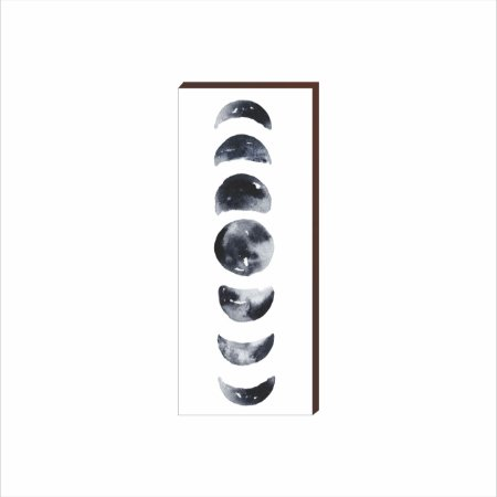 Quadro Decorativo Fases da Lua VERTICAL BRANCO [Box de Madeira]