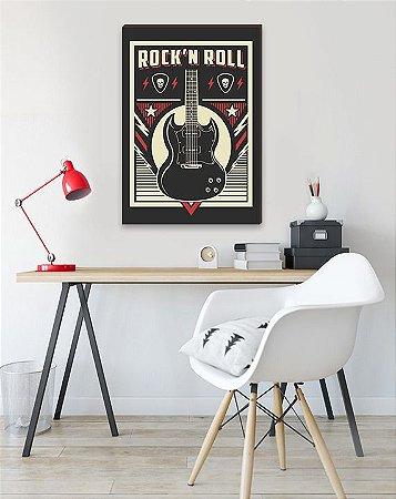 Quadro Rock´n Roll Guitarra preto, vermelho e bege [BoxMadeira]