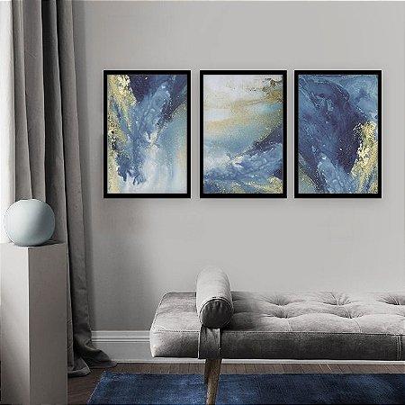 Trio de Quadros Decorativos Abstrato Artístico Azul com Dourado [Moldura Grossa Sem Vidro]