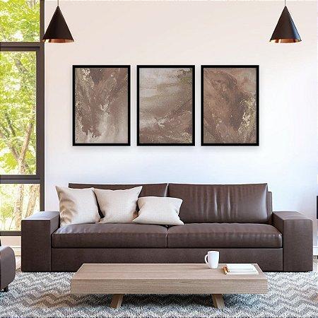 Trio de Quadros Decorativos Abstrato Artístico Marrom com Dourado [Moldura Grossa Sem Vidro]