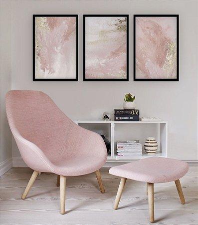 Trio de Quadros Decorativos Abstrato Artístico Rosa com Dourado [Moldura Grossa Sem Vidro]