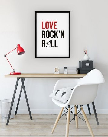 Quadro Decorativo Love Rock'n Roll [MOLDURA E VIDRO]