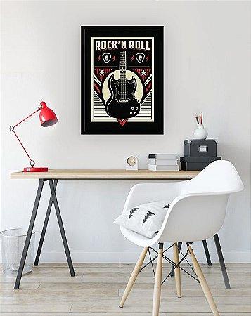 Quadro Decorativo Rock'n Roll Guitarra preto, vermelho e bege [MOLDURA E VIDRO]