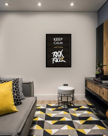 Quadro Decorativo Keep Calm and listen Rock'n Roll [MOLDURA E VIDRO]