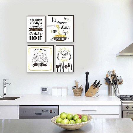 Quadros Kit Cozinha mod. 03 Branco, Marrom e Amarelo [Box de Madeira]