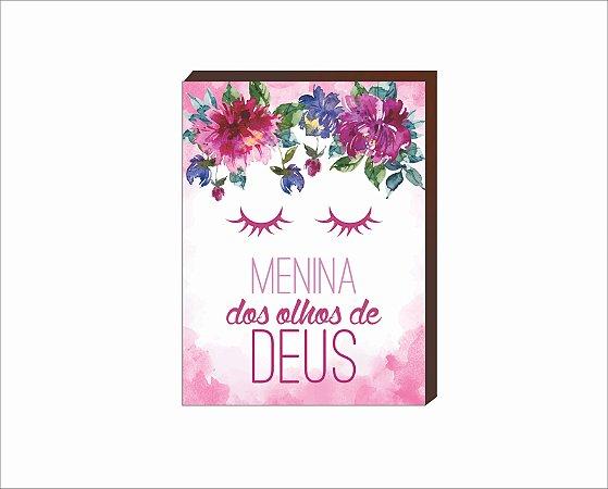 Quadro Decorativo Menina dos olhos de Deus florido rosa [BoxMadeira]