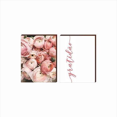 Dupla de quadros Flores+Gratidão Rosa [boxdemadeira]