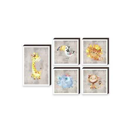 Kit de quadros Girafa e amigos [Box de Madeira]