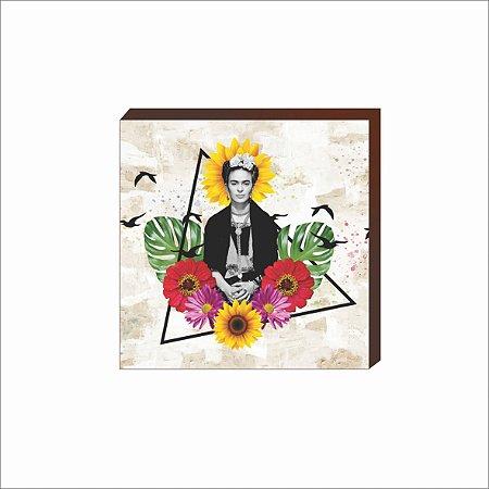 Quadro decorativo Frida Kahlo triângulo floral [BoxMadeira]