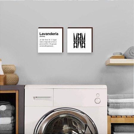 Dupla de quadros Lavanderia+Grampo de roupa [Box de madeira]