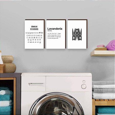 Trio de quadros Lavanderia+Símbolos+Grampo de roupa [Box de madeira]