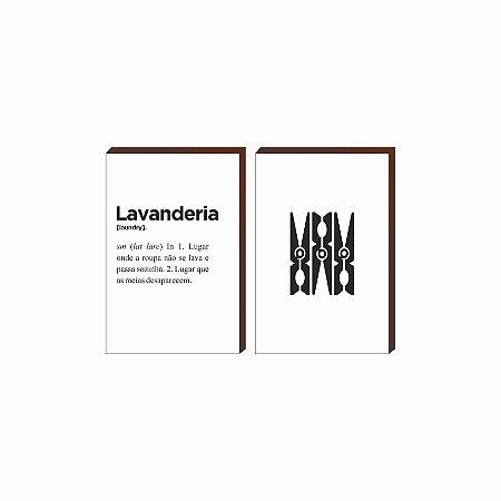 Dupla de quadros Lavanderia+Grampo de roupa [boxdemadeira]