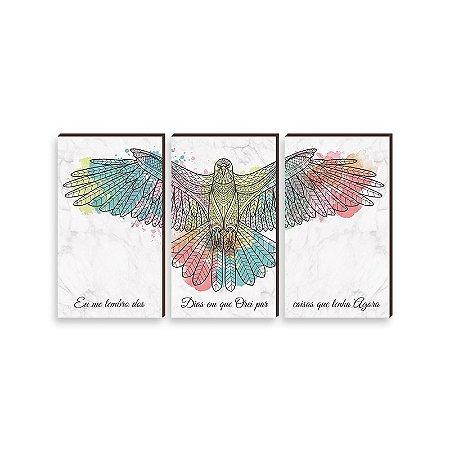 Trio de quadros Águia COLORIDA  [BOX DE MADEIRA]