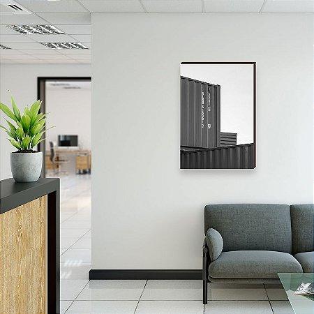 Quadro decorativo Container e Navios Comex Mod. 01 Preto e branco [Box de Madeira]