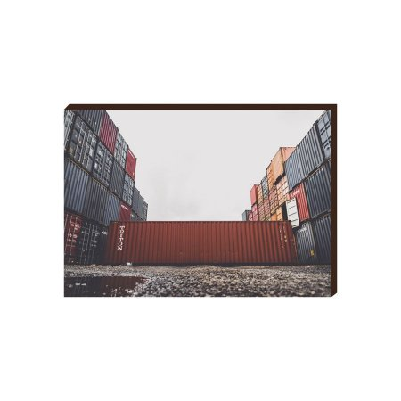 Quadro decorativo Container e Navios Comex  Mod. 04 [Box de Madeira]