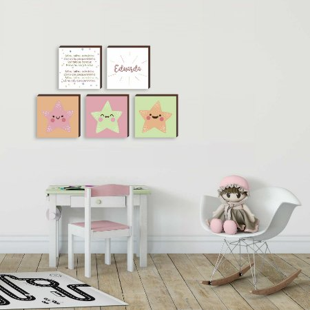 """Kit de quadros Brilha Brilha estrelinha - Estrelas [BoxMadeira]"""""""