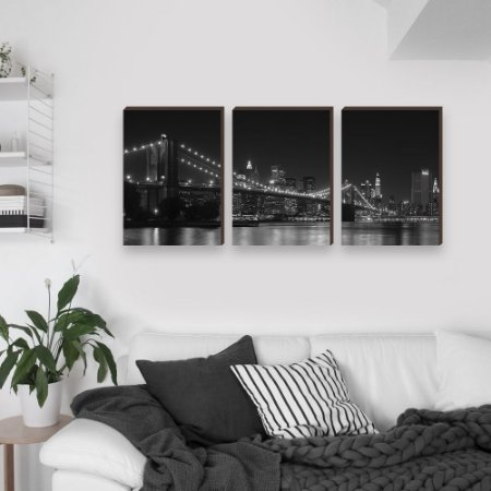 Trio de Quadros Paisagem Ponte New York Preto e Branco [BOX DE MADEIRA]