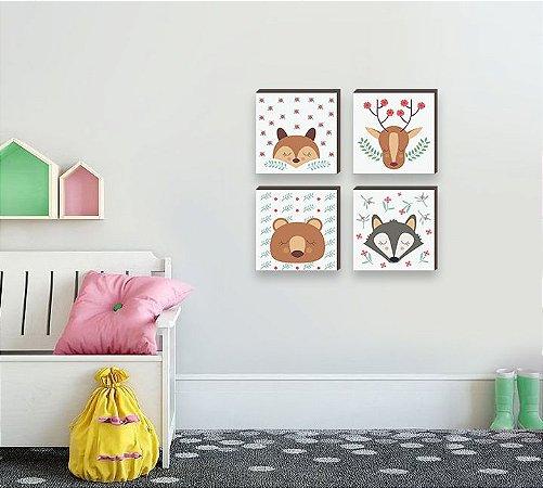 Kit de quadros infantil Bichos cute olhinhos fechado [BOX DE MADEIRA]