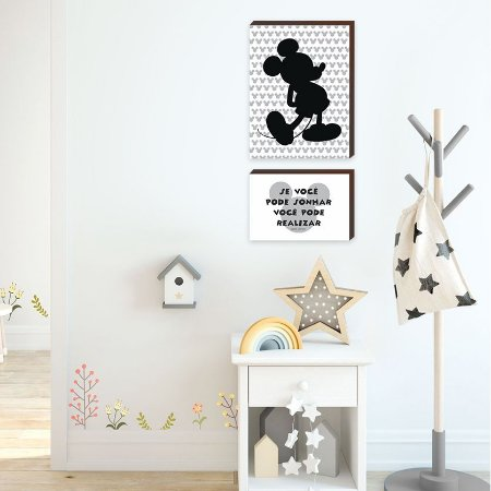 Dupla de quadros Mickey + Se você pode sonhar você pode realizar [BOX DE MADEIRA]