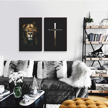 Dupla de quadros Leão e Cruz [box de Madeira]