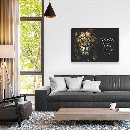 Quadro decorativo Leão Iluminado Horizontal [box de Madeira]