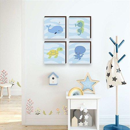 Quarteto de quadros infantil Bichos Fundo do mar [BOX DE MADEIRA]