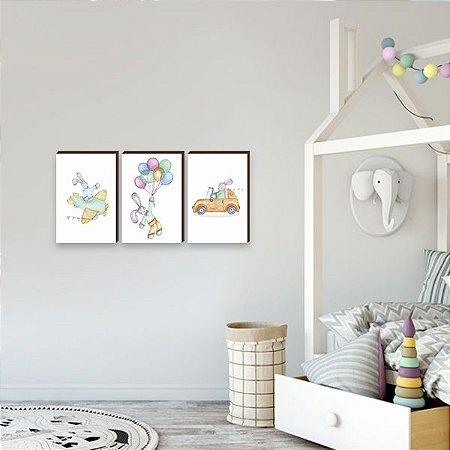 Trio de quadros infantil Coelho Aquarela [BoxMadeira]