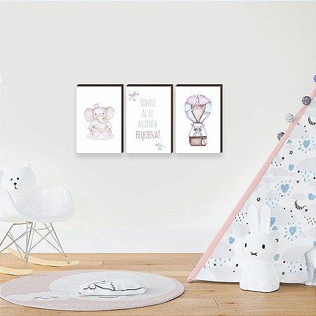 Trio de quadros infantil Bichos + Balão + Sonhe Alto [BoxMadeira]
