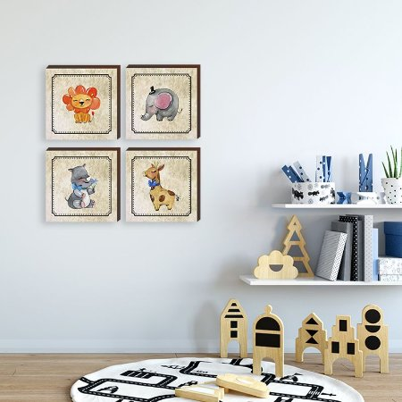 Quarteto de quadros infantil Animais menino [BOX DE MADEIRA]