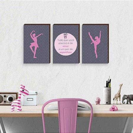 Trio de quadros Bailarina + Frase [BoxMadeira]