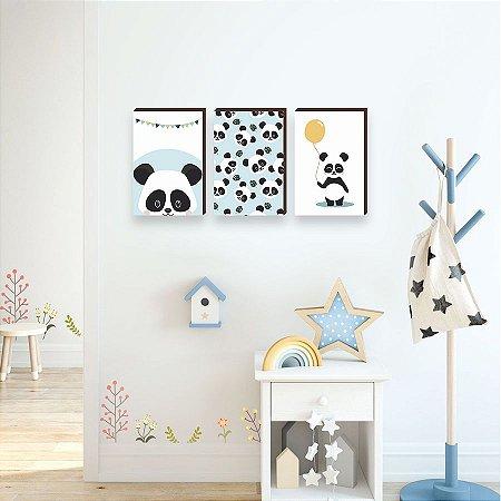 Trio de quadros Panda Azul [BoxMadeira]