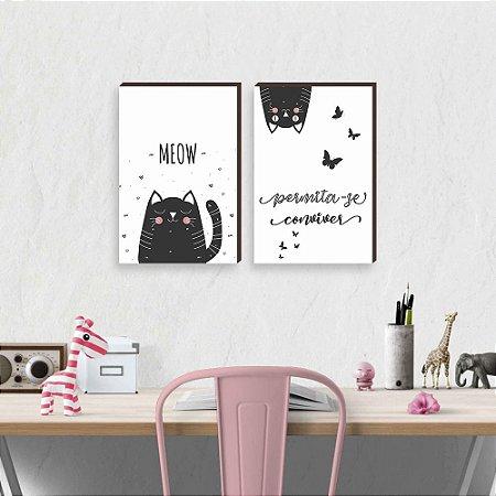 Dupla de quadros infantil Meow Gatinhos e borboletas [boxdemadeira]