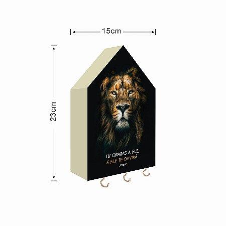 Porta Chaves Casinha Grande Leão iluminado com frase
