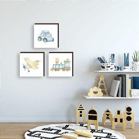 Trio de quadros infantil Carro, avião, trem aquarela [BoxMadeira]