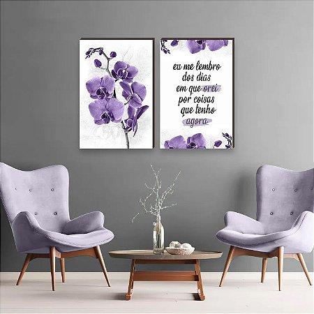 Dupla de quadros Orquídea + Eu me lembro dos dias em que orei Roxo [boxdemadeira]